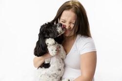 dog kissing owner