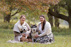 sisters and their dogs