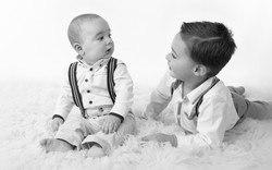 brothers portrait black and white