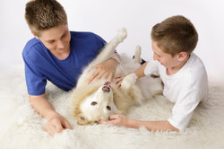 brothers with their husky