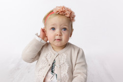 close up portrait 12 month girl