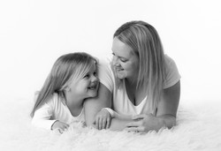 mother and daughter black and white