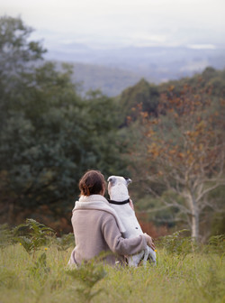 looking at view with dog