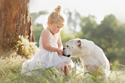 sweet girl with her dog