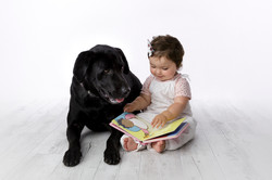 baby storytime with dog