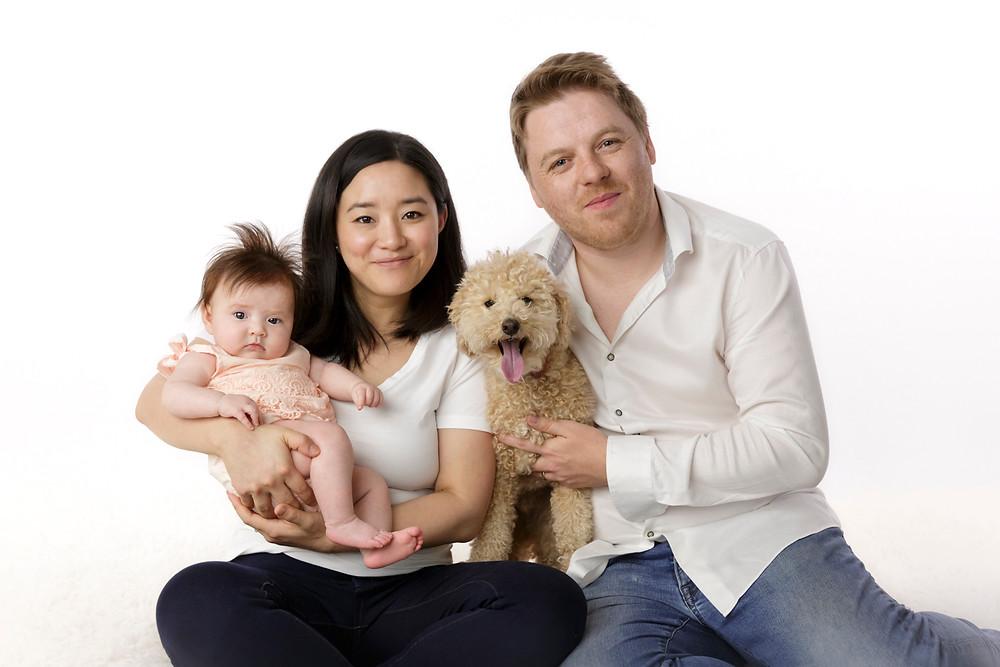 family portraits including pet dog