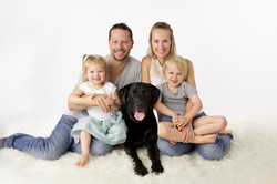 family portrait with beloved dog