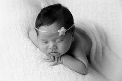 black and white newborn portrait