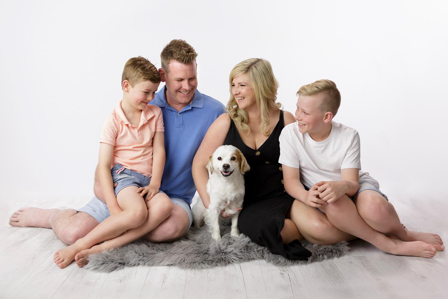 family photo including family dog