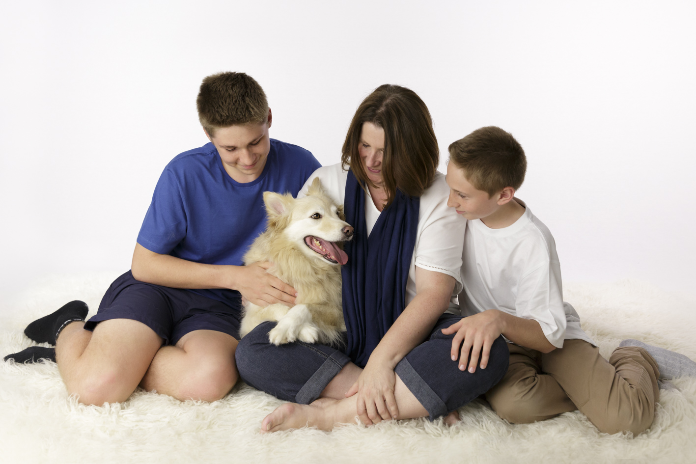 mothers sons and family dog