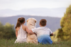 kids with Labrador looking at view