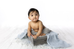 cute 10 month baby boy in box