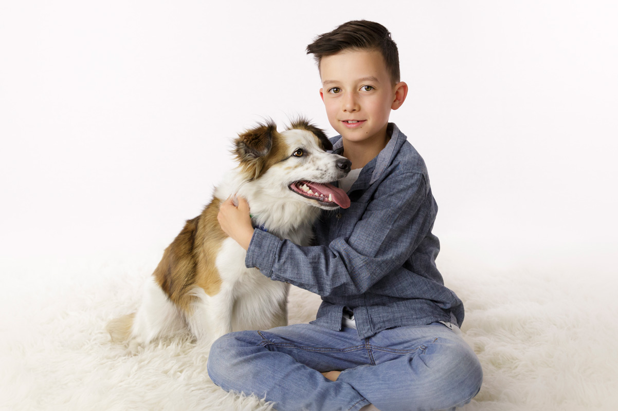 boy with his dog portrait