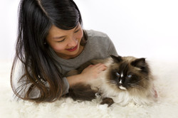 cat portrait with owner
