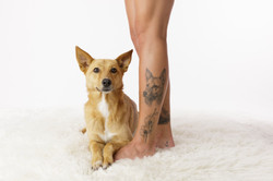 dog tattoo on leg
