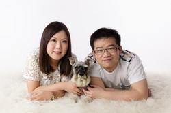 studio portrait with dog