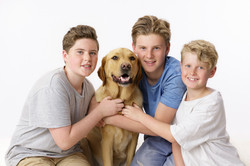 3 brothers with their Labrador