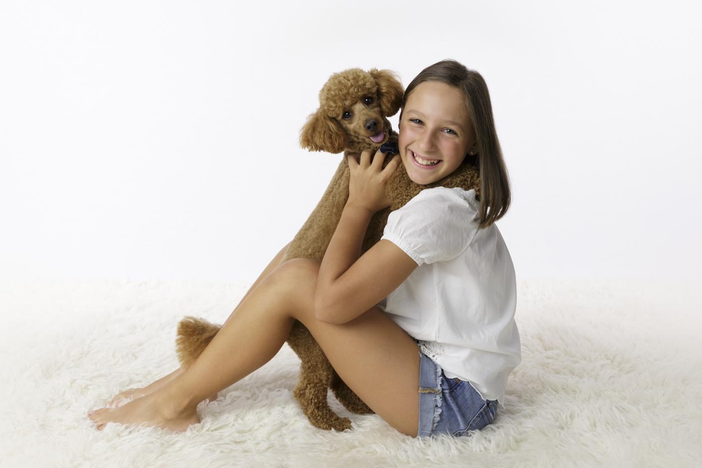 child with beloved dog