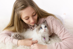 teenager with ragdoll cat