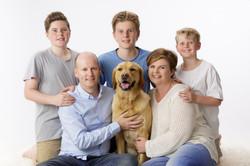 full family portrait including dog