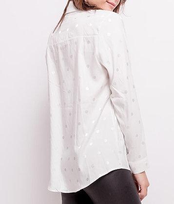Chemise blanche à pois