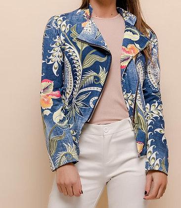 Veste zippée à fleurs imprimées