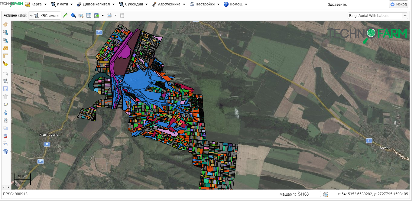 Земеделски софтуер TechnoFarm - Модул Карта - ОСЗ