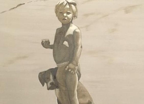 Oil on Board - Boy and Dog