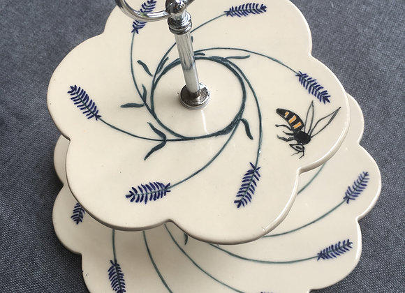 Lavender and Bee 2-Tier Stoneware Cake Stand
