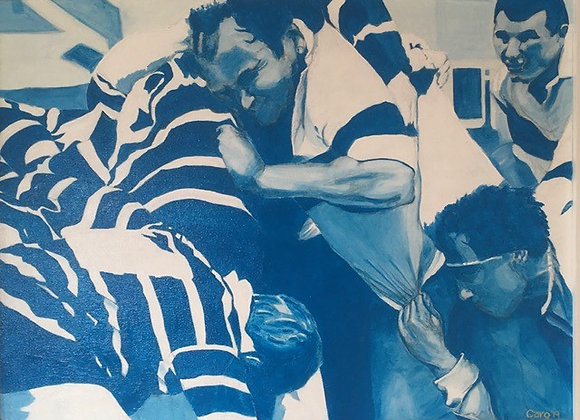 Rugby Scrum - Oil on canvas board