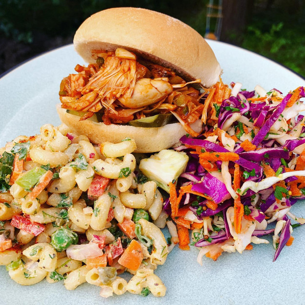 BBQ Jackfruit, mac salad and spicy-mustard slaw.
