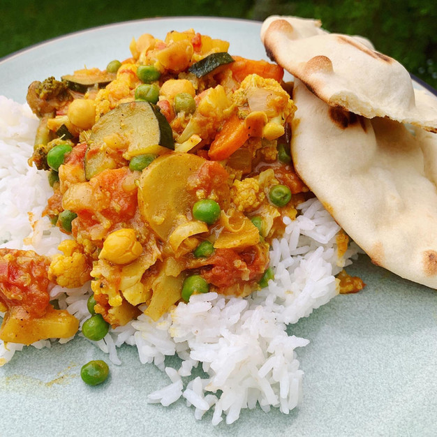 Curried veggies over rice
