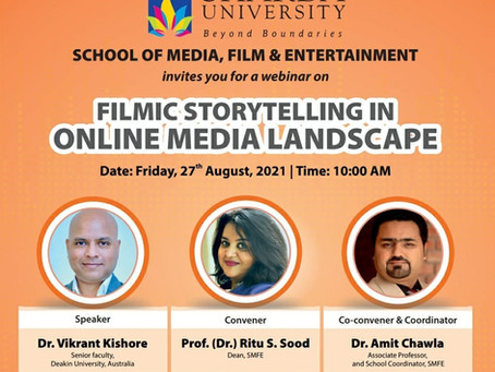 Dr Kishore conducts a masterclass on online storytelling for Sharda University media students!