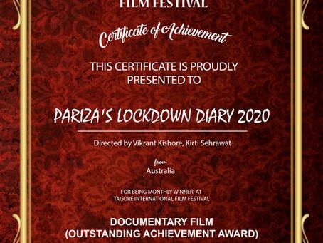 Pariza's Lockdown Diary 2020 wins award in the Tagore International Film Festival, India