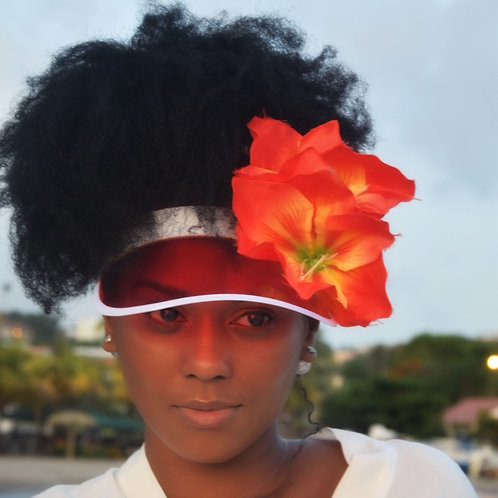 RED SUN HAT FLOWERS