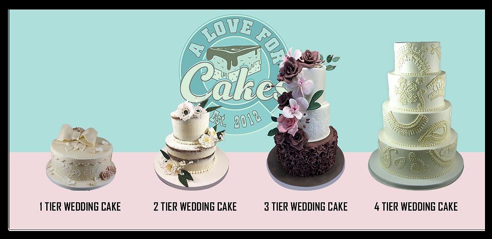 1 Tier wedding cake, 2 tier wedding cake, 3 tier wedding cake, 4 tier wedding cake from A Love for cakes, NYC