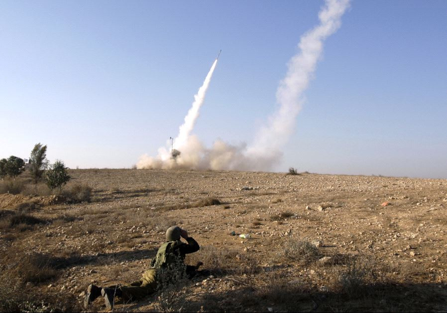 Iron Dome launcher fires an interceptor rocket