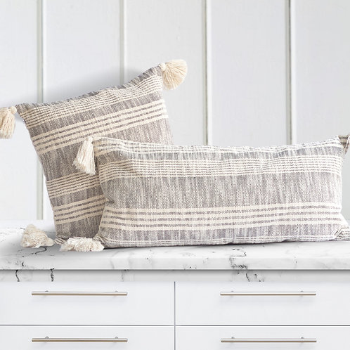 Striped Pillow in Cream and Charcoal Gray