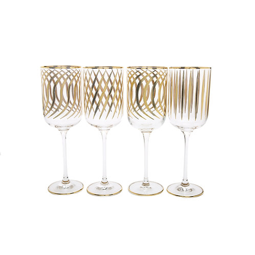 Mix and Match Wine Glasses With 24k Gold Design - Set of 4