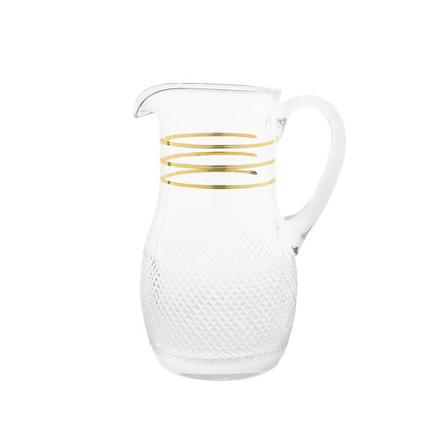 Crystal Pitcher with Cut Diamond Pattern