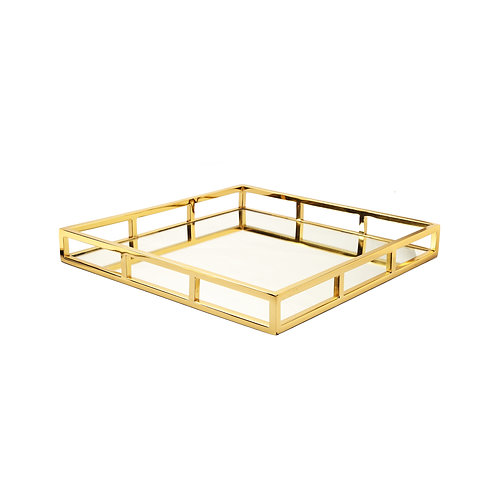 Square Gold Mirrored Tray
