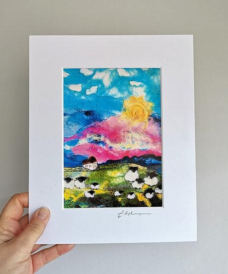 Sunset Hill Mounted Art Print