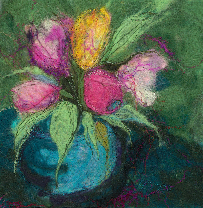 Tulips with Blue Vase