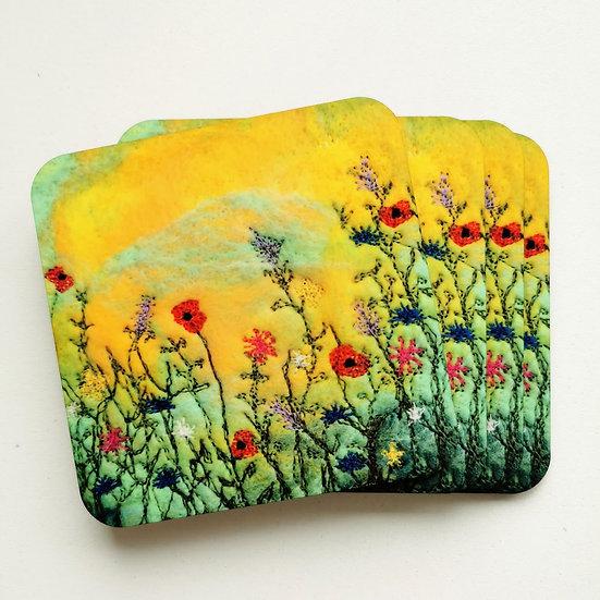 Sunset Poppies Cork Coaster Set Of 4