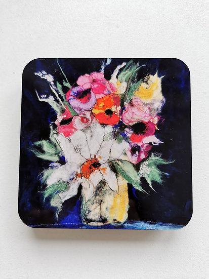 Full Bloom Cork Coaster Set Of 4