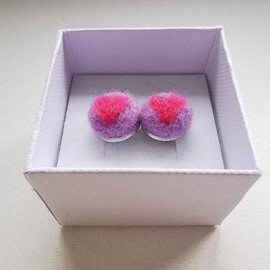 Needle Felt Pink Hearts On Lilac Stud Earrings