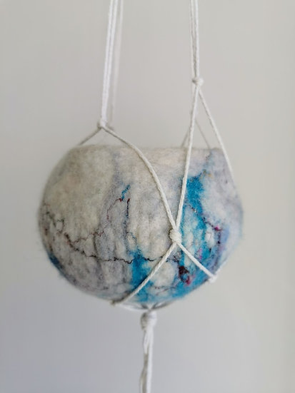 Felted Bowl With White Macrame Hanger