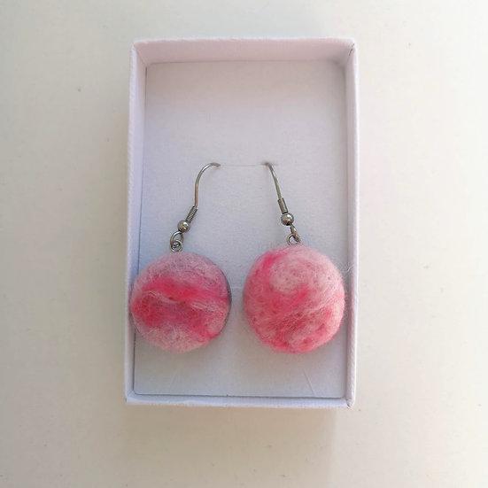 Pink Marble Effect Felt Earrings