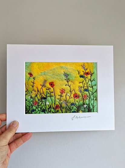 Sunset Poppies Mounted Print