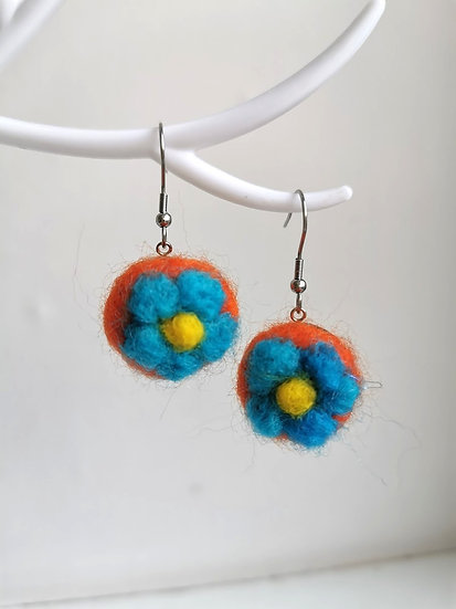 Orange And Blue Flower Needle Felt Earrings